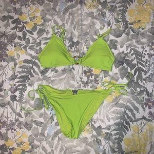 AERIE neon green string tie triangle bikini set